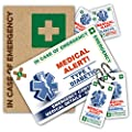 DIABETIC In Case of Emergency (I.C.E.) Card Pack **NEW Design 2017** with Writable Key Rings & 2 sizes of Sticker from ICEcard. Wallet size card with WRITABLE reverse to carry Emergency Contact & Medical / Medication Information. Suitable for anyone with