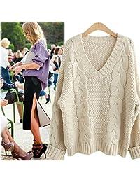 QXH La mujer teje suéteres de cuello V MANGA LARGA Color sólido suelto