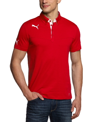 Puma, Polo Uomo King, Rosso (puma red-dark gray heather), S