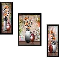 SAF Diwali Gift for Home UV Textured Flower Print Framed Art Print Painting Set of 3 for Home Decoration – Size 35 x 2 x…