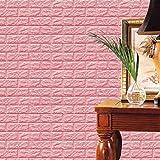 Amuster Nouveau PE mousse 3D papier peint bricolage Stickers muraux décoration murale en relief brique pierre (Rose)