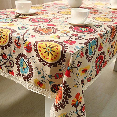 Mantel de estilo étnico de borde rectangular de encaje, bordado de lino...