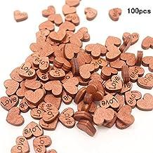 KOBWA - Confeti de Madera rústico para decoración de Mesa de Boda, diseño de corazón