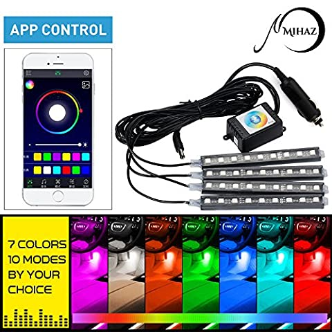 MIHAZ 36 LEDs 16 Colors 4 Pieces Car Atmosphere Light For Interior Footwell Underdash Neon Decoration Lighting Strips with Sound Active Function and APP Control