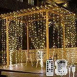 LE Cortina Luces LED, USB o PILAS, 3m x 3m 300 LED, 8 modos, Intensidad Regulable, Temporizador, Resistente al agua, Blanco cálido decoración de casa, Mando incluido