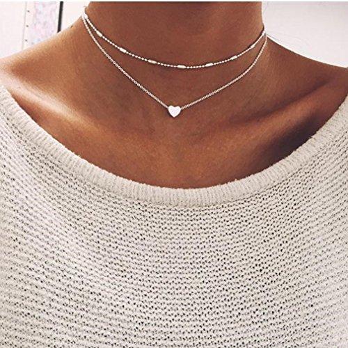 Honel Damen Halskette schöne Choker Kurze Kette Frauen Halsband Modeschmuck mit Herz Anhänger ,Silber