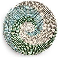 Made Terra Bol natural de cesta de frutas tejidas   Hecho a mano Seagrass Bowl Decorativo Elegante Rústico Decoración Boho Tapiz   Gran regalo de inauguración (espiral verde azulado)