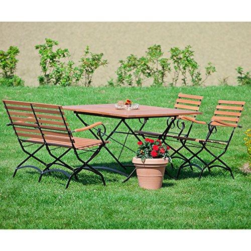 Schlossgarten Gartenmöbel Sitzgruppe MECINA-29 Eukalyptusholz geölt, Flachtstahl graphit, 2 Klappstühle, 1 Klapptisch oval, 1 Klappbank