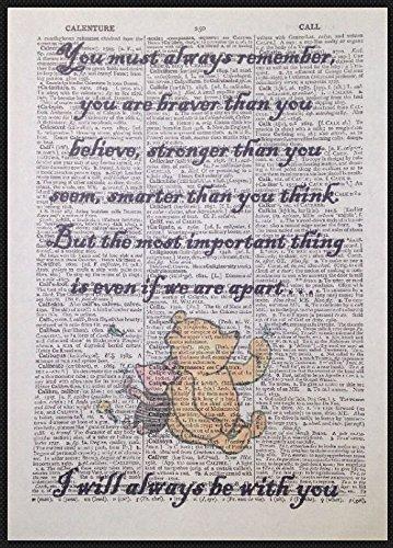 Parksmoonprints Kunstdruck/Wandbild auf Wörterbuchseite, mit englischem Winnie Puuh-Zitat, Vintage-Stil.
