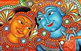 Canvas Painting - Radha Krishna - Kerala Mural Canvas For Home And Office Décor (28 inch x 44 inch)