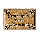 Relaxdays 10019010  Paillasson en fibres de coco inscription anglais 'si tu amènes une bière tu es bienvenu' tapis de sol Lxl: 60 x 40 cm natte entrée essuie-pieds tapis de plancher antidérapant PVC Marron