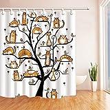 GoHEBE Animals Decor Cartoon gatto sull' albero per bambini tenda da doccia in tessuto di poliestere resistente alla muffa bagno decorazioni bagno tende ganci inclusi 180,3x 180,3cm giallo