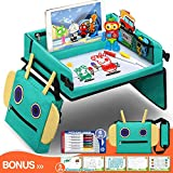 Fivejoy 2 en 1 Bandeja de Viaje Robot Bolso con Soporte para iPad Desmontable, Bandeja de Asiento de Coche de Tablero de Borrado en Seco de PVC, 5 Papeles de Dibujo Educativo y Pluma de 6 Colores