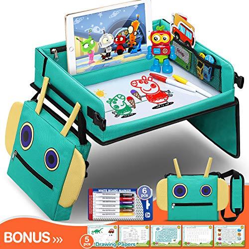 Vassoio da Viaggio Bambini per auto Toddler, 2 in 1 Universale Tavolo Seggiolino Auto con Borsa Robot Ulteriori Tasche Organizzatore Ampio Supporto per iPad e Tazza per Auto/Passeggino/Aereo