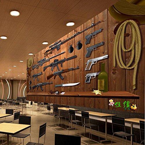 Tantoto 3D Wallpaper Antique Wood-Grain Militärische Schusswaffen, Waffen Ausrüstung Großen Wandgemälden Room Escape Bar Und Restaurant Wallpaper Wallpaper