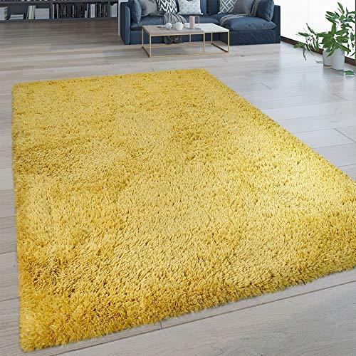 Paco Home Hochflor Wohnzimmer Teppich Waschbar Shaggy Flokati Optik Einfarbig In Gelb, Grösse:80x150 cm -