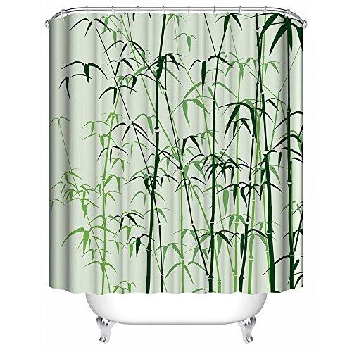Yaofutee cartone animato tradizionale foglie di bambù verde tenda da doccia impermeabile resistente del bagno del tessuto del poliestere della muffa 48