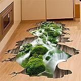 Ughjb 3D Wandaufkleber Abnehmbare Bodenaufkleber Abnehmbare Vinyl Diy Wasserfall Bach Für Kinderzimmer Badezimmer Küche Dekoration