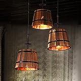 Neixy - 3-Köpfe Holzfässer Decken-Pendelleuchten Kette Verstellbare Nordic Creative America Style Kronleuchter Villa Garage Art Lighting Fixtures ( Color : STYLE 1 )