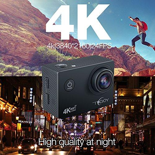 Topjoy Sport Action Kamera TJ5000 4K 16MP Unterwasser Action Kamera mit NTK96660 Chipsatz Sony IMX078 Sensor Gyro WiFi HDMI & AV Out Action Cam für Tauchen Fahrrad Skifahren - 2