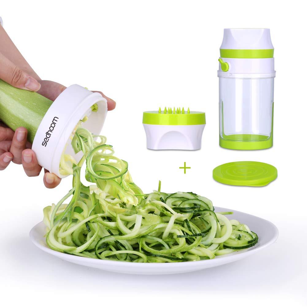 Cortador Espiral Verduras Sedhoom Cortador de Verduras de Gran Capacidad Spiralizer Manual Slicer 2 cuchillas Espiralizador vegetal de calabacín, espaguetis de verduras, zanahorias, verduras