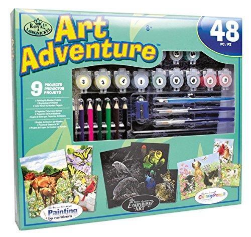 Art Adventure Value Set, Malkoffer mit Kratzbildern und Malen nach Zahlen