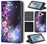 CoverFix Premium Hülle für Samsung Galaxy S4 / S4 Neo Flip Cover Schutzhülle Kunstleder Flip Case Motiv (654 Schmetterling Blumen Lila Pink)