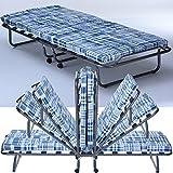Gäste-Bett Basic mit Matratze klappbar 80 x 190 cm Klapp-Bett mit stabilem Metall-Rahmen Gäste-Liege mit Rollen