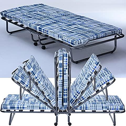 Lit d'appoint pour invité pliant Basic avec matelas 80 x 190 cm - Matelas pliable avec cadre en métal et