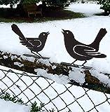 Antikas - Vogel Dekoration Tierfiguren für den Garten, Deko Gartenmauer Vogelpaar Metall