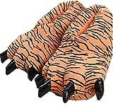 LANFIRE Unisex Soft Plüsch Haus Hausschuhe Tier Kostüm Pfote Claw Schuhe (S (Kind/Größe: 28-34), Tiger)