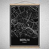 TIANLIANG Benutzerdefinierte Muster Welt Stadt Bratislava Karte Öl Malerei Moderne Poster Leinwand Abstrakte Bild Drucken Mit Rahmen, Berlin, 40 X 60 cm Ohne Rahmen