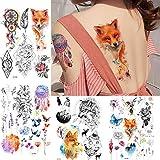 lihaohao Flash Fake Fox Impermeabile Tatuaggi Adesivi Donne Torace Corpo Braccio Tatuaggio Temporaneo Dreamcather Ragazza Fiore Tato15X21Cm 4 Pz