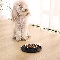 AmazonBasics Round Silicone Mat and Pet Bowl - Small, Black