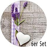 matches21 Tischsets Platzsets MOTIV Lavendel auf Holzbrett 6 Stk. Kunststoff abwaschbar rund, je Ø 38 cm