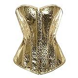 Grebrafan Übergröße Braut Exclusive Corsage Korsett mit Pailletten (EUR(44-46) 4XL, Gold)