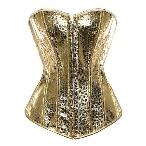 (Grebrafan Übergröße Braut Exclusive Corsage Korsett mit Pailletten (EUR(34-36) M, Gold))