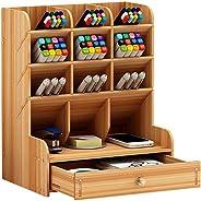 Wooden Desk Organizer, WOOPOWER Multi-Functional DIY Pen Holder Box, Desktop Stationary, Home Office Supply Storage Rack with