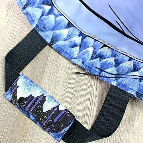 Shopper Reisetasche, Designertasche schwarz blau - 5