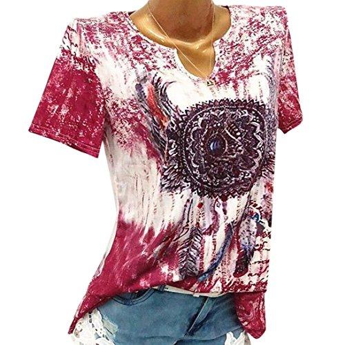 r Frauen Plus Size Blumendruck V-Ausschnitt Kurzarm Bluse Pullover Tops T Shirt Casual Größe Oberteile(Rot,XL) (Königin Der Herzen Kostüm Plus Size)