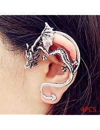 d15d389b2dfb Elenxs 4pcs Hombres Mujeres gótica Dargon del oído Cuff Abrigo del Clip del  Perno Prisionero Pendiente