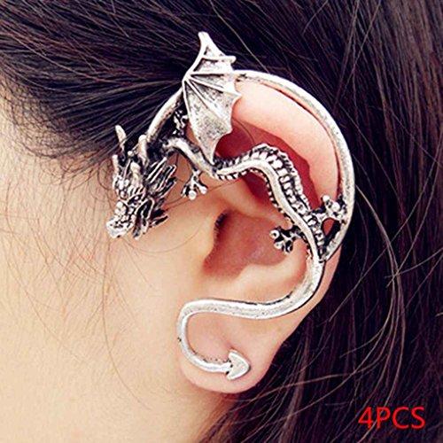 MUANI 4pcs de plata de oro Hombres Mujeres gótica Rrtro Dargon del oído del manguito de clip del pendiente del abrigo