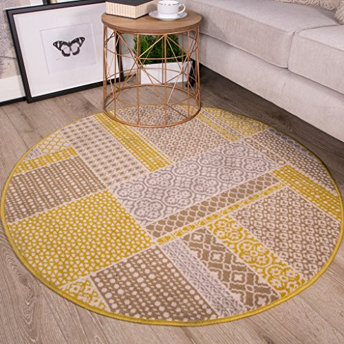 milan ochre mustard yellow grey beige patchwork squares traditional circle living room rug 120cm diameter