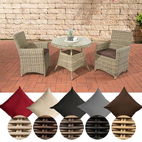 CLP Poly-Rattan Sitzgruppe QUITO, 5 mm Rund-Geflecht, Alu-Gestell (2 Sessel, Tisch rund Ø 90 cm) ideal für Balkon und Terrasse Rattan Farbe natura, Bezugfarbe: Terrabraun