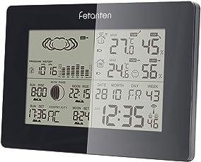 SNOR Wetterstation mit Außensensor Funk, Innen- Außen Temperatur-und Feuchtigkeit Prognose Station mit Mondphase, Luftdruck, Barometer, Wecker, Sonnenaufgang/Sonnenuntergang