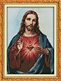 YEESAM ART® New Cross Stitch Kits Advanced - Sacred Heart Of Jesus 14 Count 34x47 cm White Canvas - Needlework Christmas Gifts