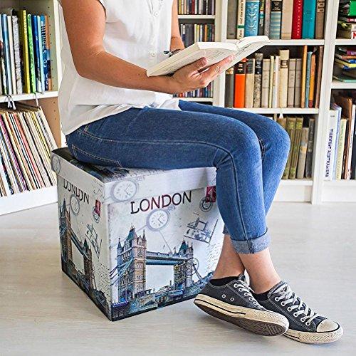 Bakaji Pouf Boîte de rangement cube pliable pour séjour chambre Pouf 38x 38x 38cm en bois mDF et tissu blanc imprimé London Bridge