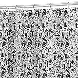 InterDesign Gazette Duschvorhang | 180,0 cm x 200,0 cm großer Vorhang für Badewanne und Dusche | waschbarer Duschvorhang im Schnipsel-Design | Polyester weiß/schwarz