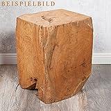 LEBENSwohnART Teak Beistelltisch/Hocker HEAVY STOOL Handmade Naturform massiv eckig