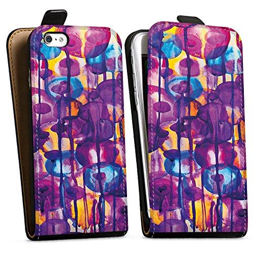 Apple iPhone X Silikon Hülle Case Schutzhülle Blumen Muster Wasserfarbe Downflip Tasche schwarz